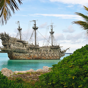 Pirate Ship in the Caribbean by Jeff Yarbrough - Artistic Objects Other Objects ( pirates, ocean, castaway cay, beach, disney, caribbean )