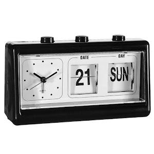 Ceas retro cu alarma, cu ora si data, negru, 19 x 10 x 5 cm