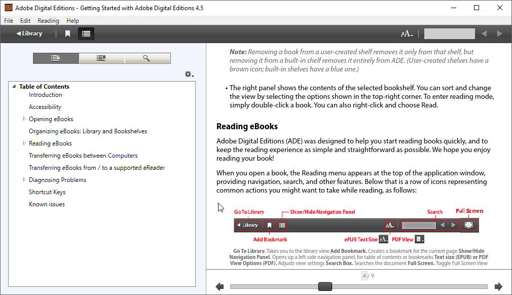 thumbapps.org Adobe Digital Editions portable, sidebar