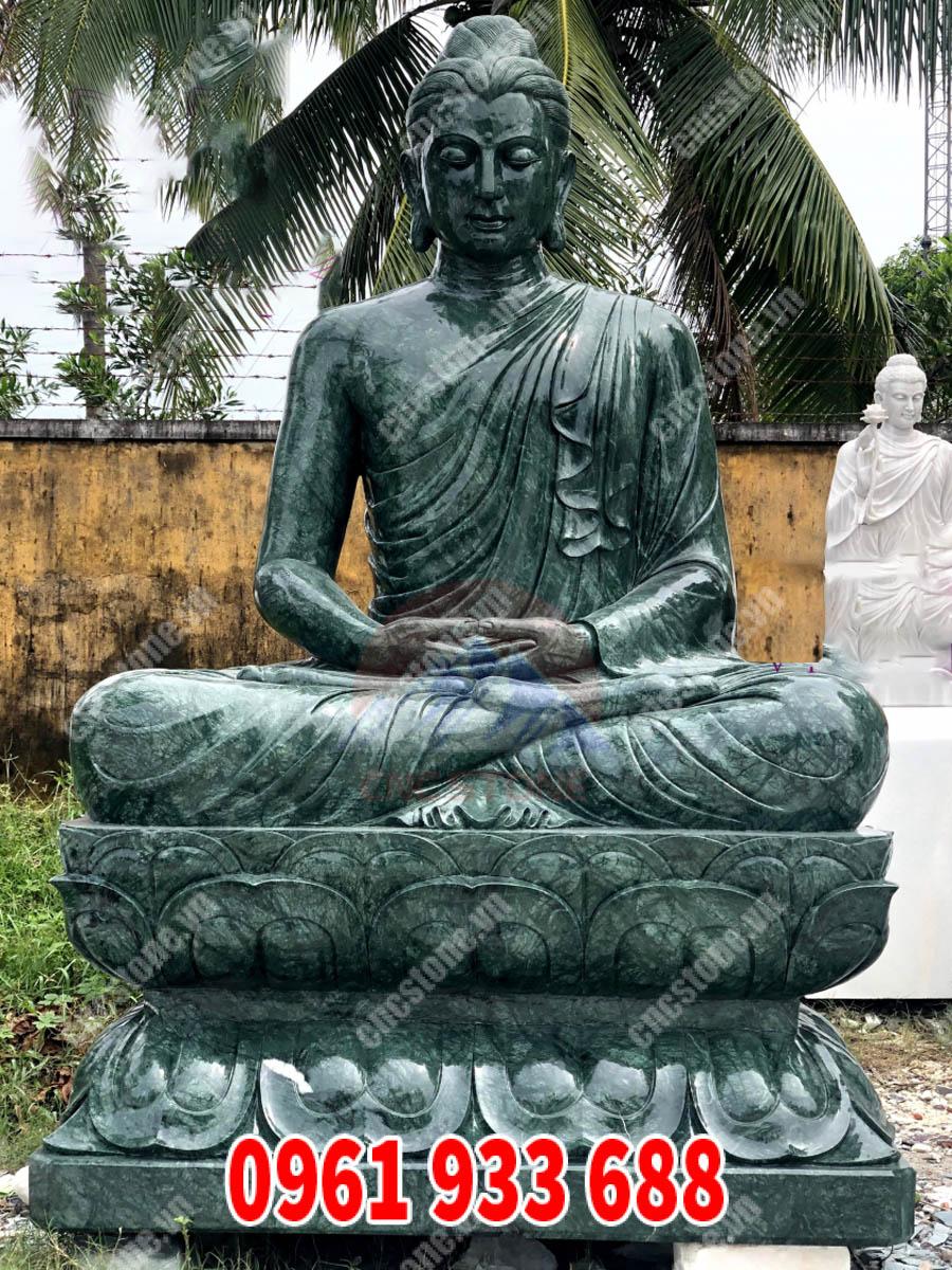 Tượng Thích Ca ngồi thiền đá xanh Ấn Độ