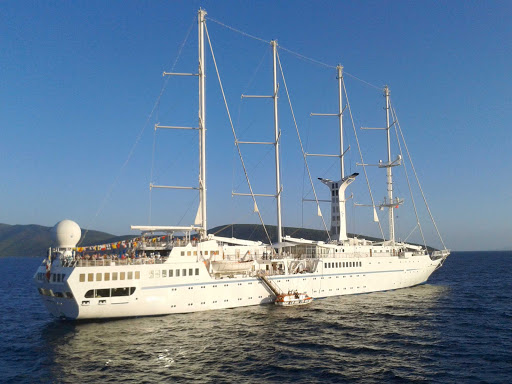 Windstar-Wind-Spirit-f - Windstar Cruises' Wind Spirit sails the Mediterranean near Bodrum, Turkey.