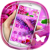 Purple rose 3D crystal theme