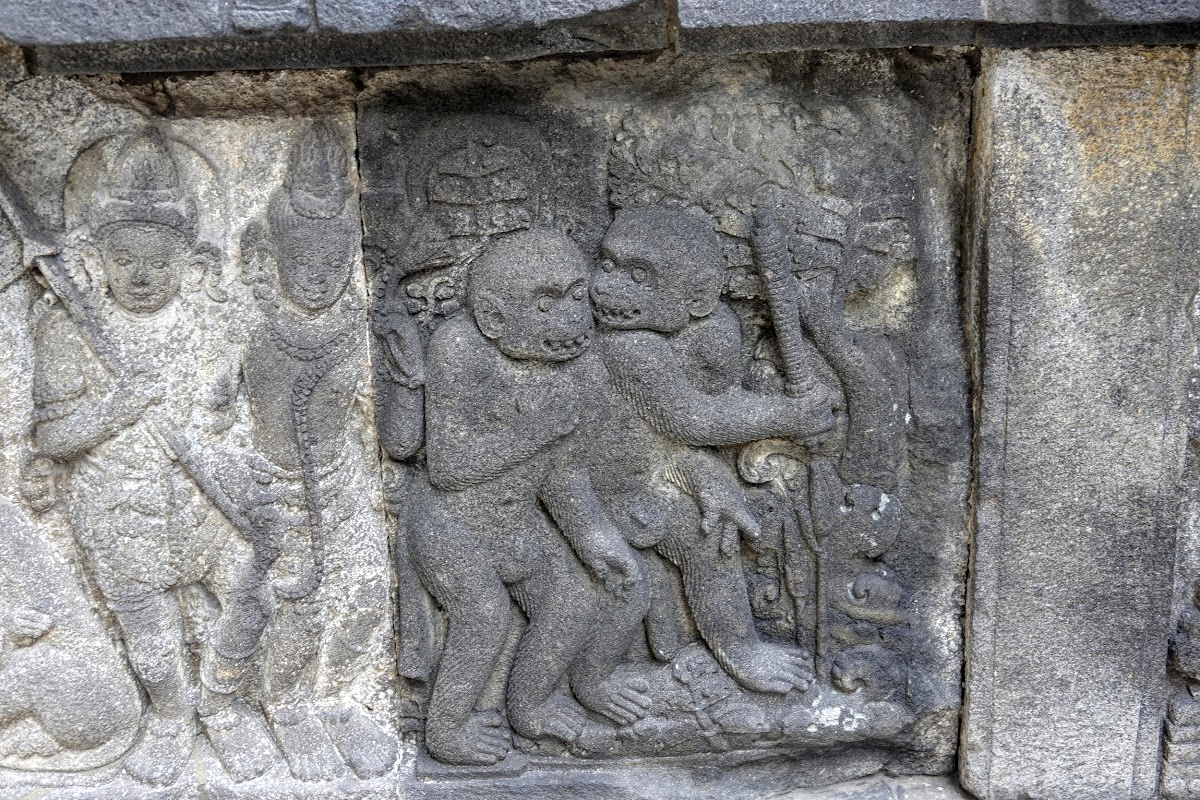 Indonesia. Yogyarkarta Pramantan Temple. Stone carving Monkeys