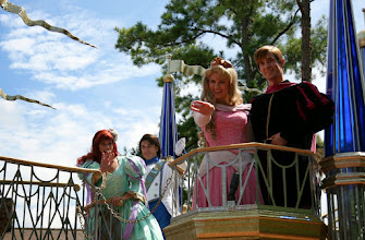 Photo: And of course we couldn't forget Aurora and Ariel (and their princes) as the princess float continues on by in the Celebrate a  Dream Come True Parade in the Magic Kingdom.