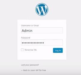WordPress Web login