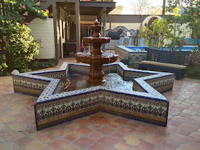 Photo: Malibu Tile Works - Fountain - Pool - BBQ - Shower - Private Residence - Long Beach, CA