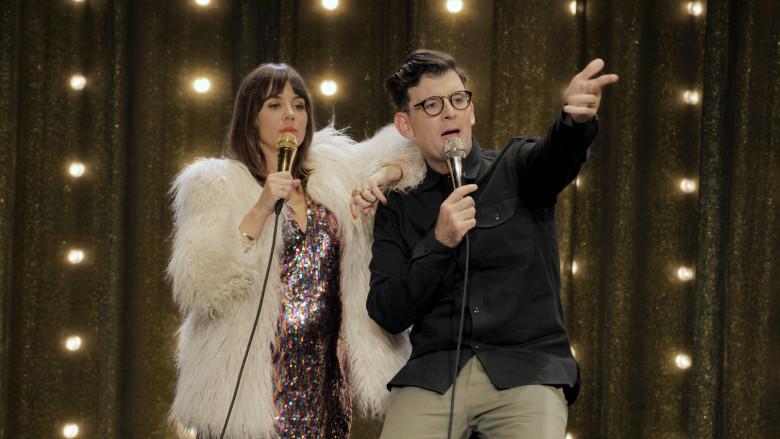 Natasha Leggero and Moshe Kasher performing
