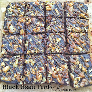 Black Bean Turtle Brownies {gluten free}
