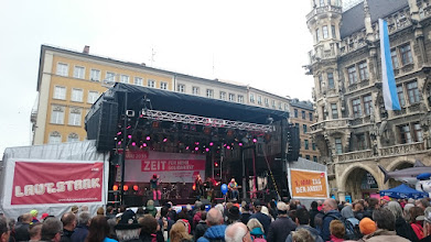 Photo: the main stage for speeches and music at marienplatz  ~ http://jarogruber.blogspot.de/2016/05/laborday.html