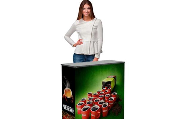 mesones promocionales autoarmables para activaciones o ferias