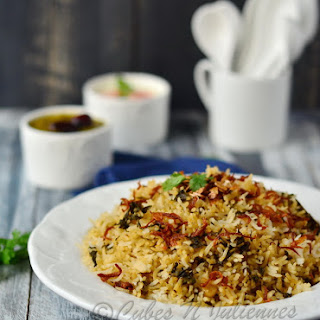 Afghani Style Spinach-Fenugreek Pilaf ( Afghani palak-methi pulao)