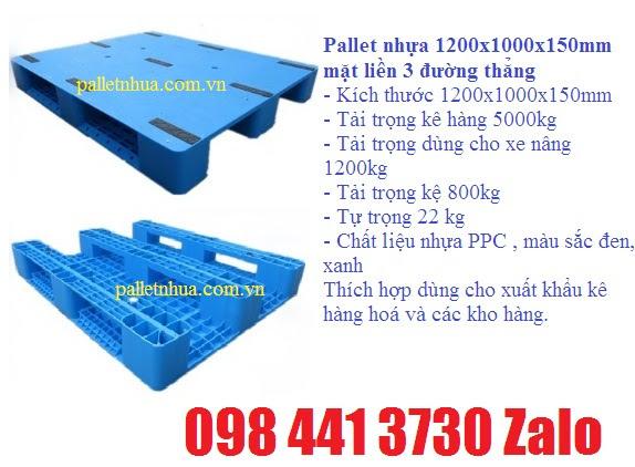 Pallet nhựa1200x1000x150mm mặt liền