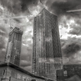 Reach for the sky by Brian Egerton - Buildings & Architecture Office Buildings & Hotels ( hdr, cityscape, clouds, black and white, building, street photography, architecture )