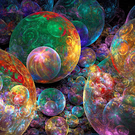 Bubble Fiesta by Peggi Wolfe - Illustration Abstract & Patterns ( abstract, wolfepaw, bubble, bright, color, fun, fractal, digital )