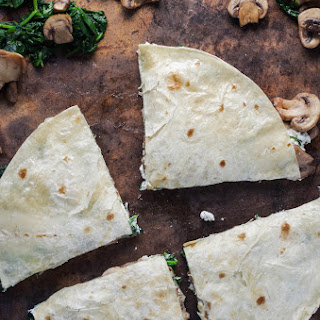 Spinach, Mushroom and Goat Cheese Quesadillas.