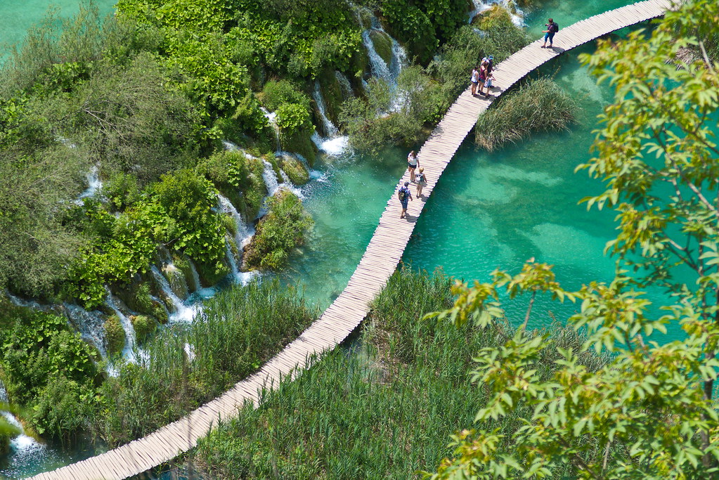 Path over one of the lakes in the Plitvice Lakes National Park