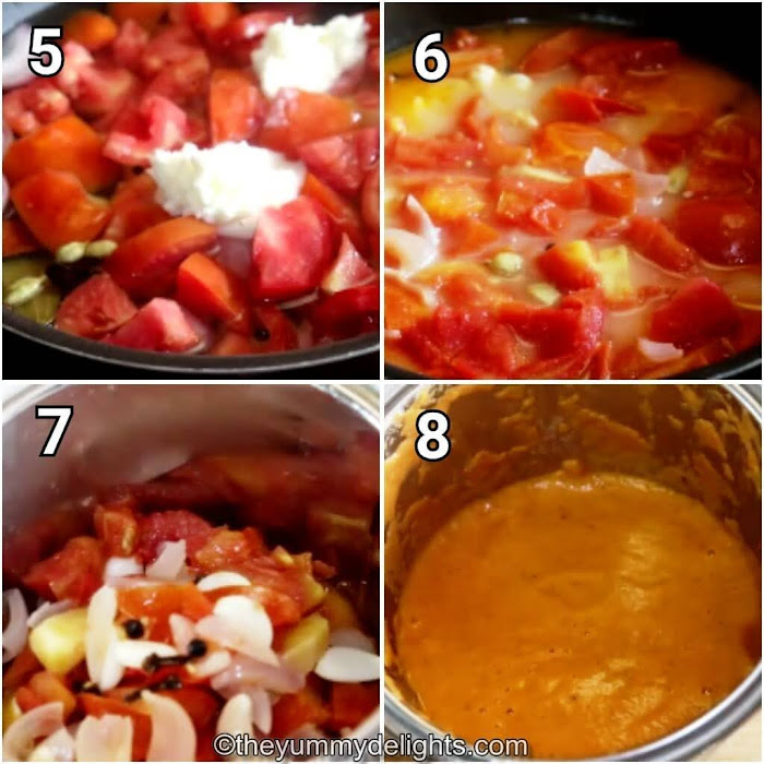 step by step image collage of boiling the ingredients & making the gravy paste