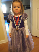 Photo: Darah is sporting two key pieces: first is her spectacular handmade purple princess ball gown (thanks, Aunt Robyn!). She thought a princess shopping event required princess attire, and I quite agree. The second item is a jingle bell around her neck.