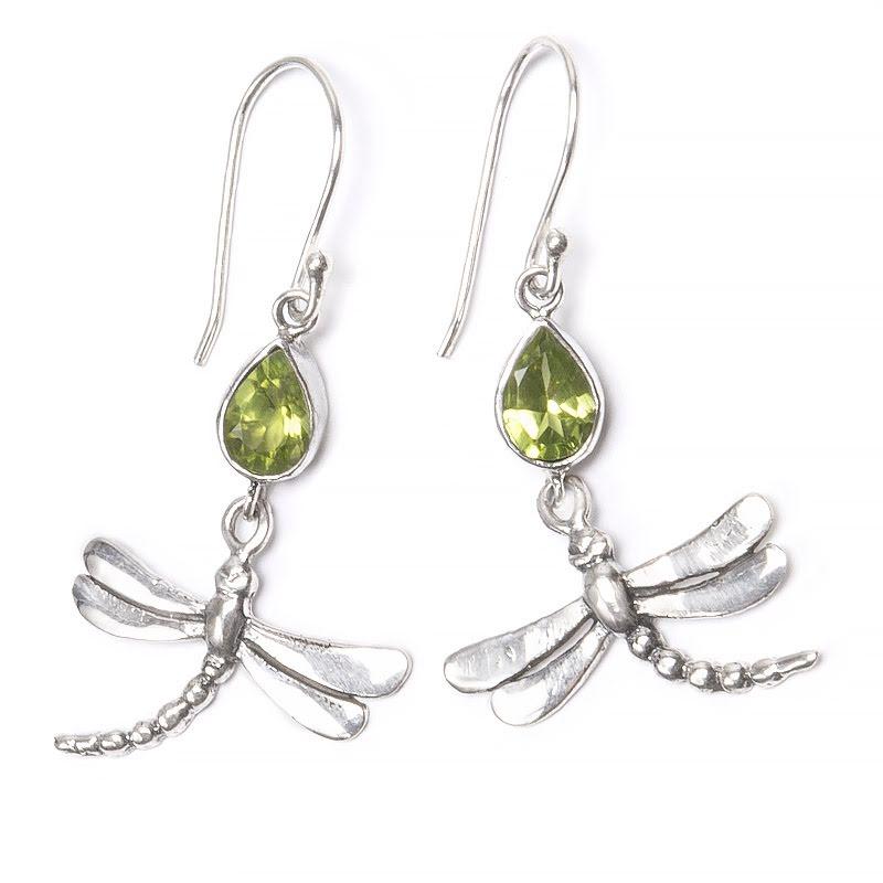 Peridot, örhänge med trollslända i silver