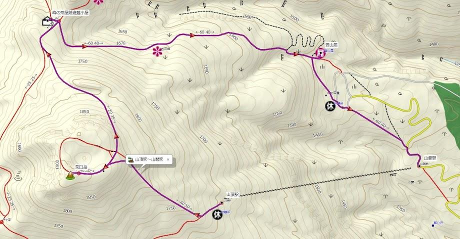 那須岳 登山コース地図
