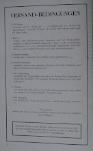 """Photo: Uhlig catalogue - p.2 'Terms & Conditions'  These appear to be the same as in the later catalogue - other than the 'currency' being shown in term 7 here as """"Mark 20"""", as opposed of """"RM20"""" in the later version, RM - ℛℳ - referring to Reichsmark as later adopted by Germany for a period (1924 - 1948) after which the Deutsche Mark was used (in West Germany - the Ostmark or 'Mark der DDR' was used in Eastern Germany).  For some reason, the frontispiece and its obverse, this page, are the only pages that are perforated for easy removal - the perforation holes can just be seen at the left in the next image."""