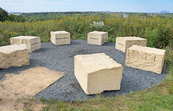 Photo: Seven blocks of limestone represent the seven Dakota/Nakota/Lakota groups whose members currently reside from Minnesota to Montana, Nebraska to Canada.