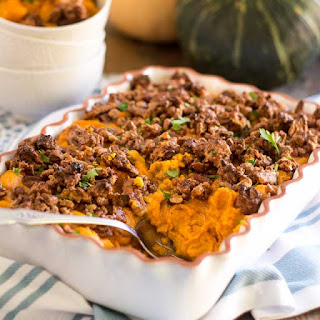Whipped Sweet Potato Casserole with Candied Maple Pecans