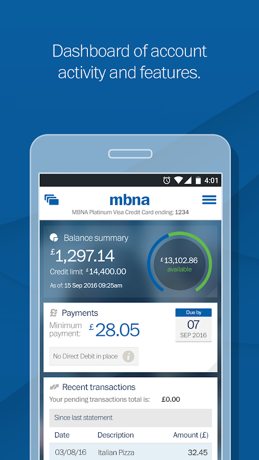 mbna cheque payment