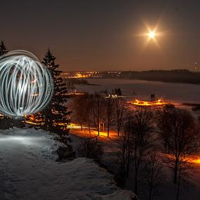 by Hendrik Mändla - Abstract Fire & Fireworks ( moon, light painting, winter, orb, snow, dark, night, city )