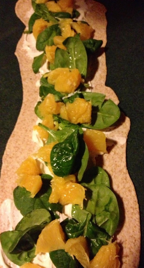 Place spinach in a line down center of rectangle over cream cheese. Place oranges...
