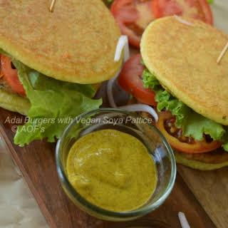 Adai Burgers With Vegan Soya Pattice.