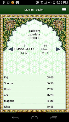 Muslim Taqvimi (Prayer times) 1.2.9 screenshots 1