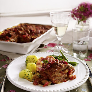 Beef Casserole with Green Beans and Parsley Potatoes.