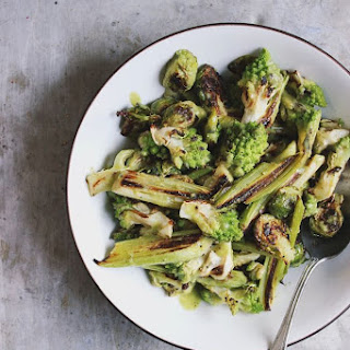 Warm Romanesco Leek + Brussels Salad with Green Olive Dressing {print me!}