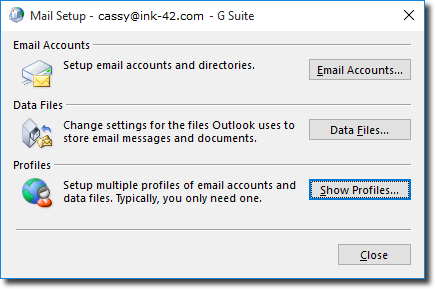 go to your windows control panel mail settings and click show profiles