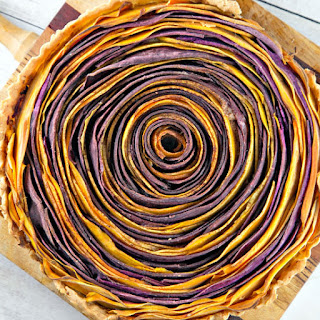 Spiral Sweet Potato Tart with Whipped Maple Ricotta.