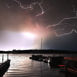 Lightning Over Lake Wingra-1, Madison, WI by Richard Hurd - Landscapes Weather ( lightning, storm, night, weather,  )