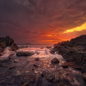 Red Sky in Morning by Stanley Loong - Landscapes Sunsets & Sunrises ( clouds, sky, red, red sky morning, waves, shining, horizon, yellow, morning, rocks )