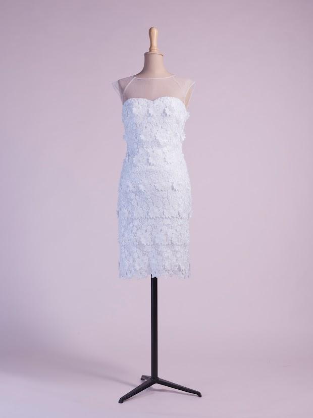 Robe de soirée Candice, robe mariage civil, robe cocktail courte, tout en dentelle