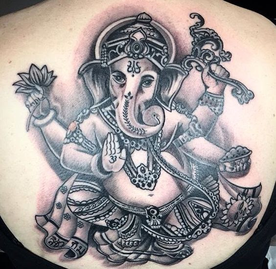 Full back ganesha tattoo design