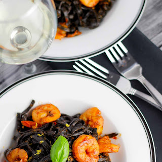Squid Ink Pasta with Shrimp + Cherry Tomatoes