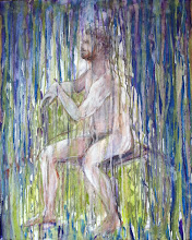 """Photo: Seated Man, in-progress, 24"""" x 30"""", 61cm x 76.2cm, mixed media on stretched canvas."""