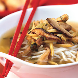 Pork and Noodle Soup with Shiitake and Snow Cabbage.