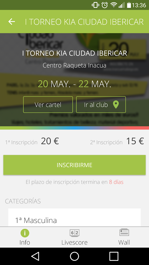 Padel Manager: captura de pantalla