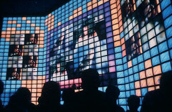Photo: Electrosonic built the world's largest videowall at EXPO 92 in Seville with 850 CRT monitors.