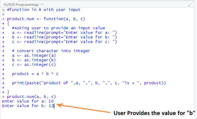 This image shows how the user gets asked to add input for other variable