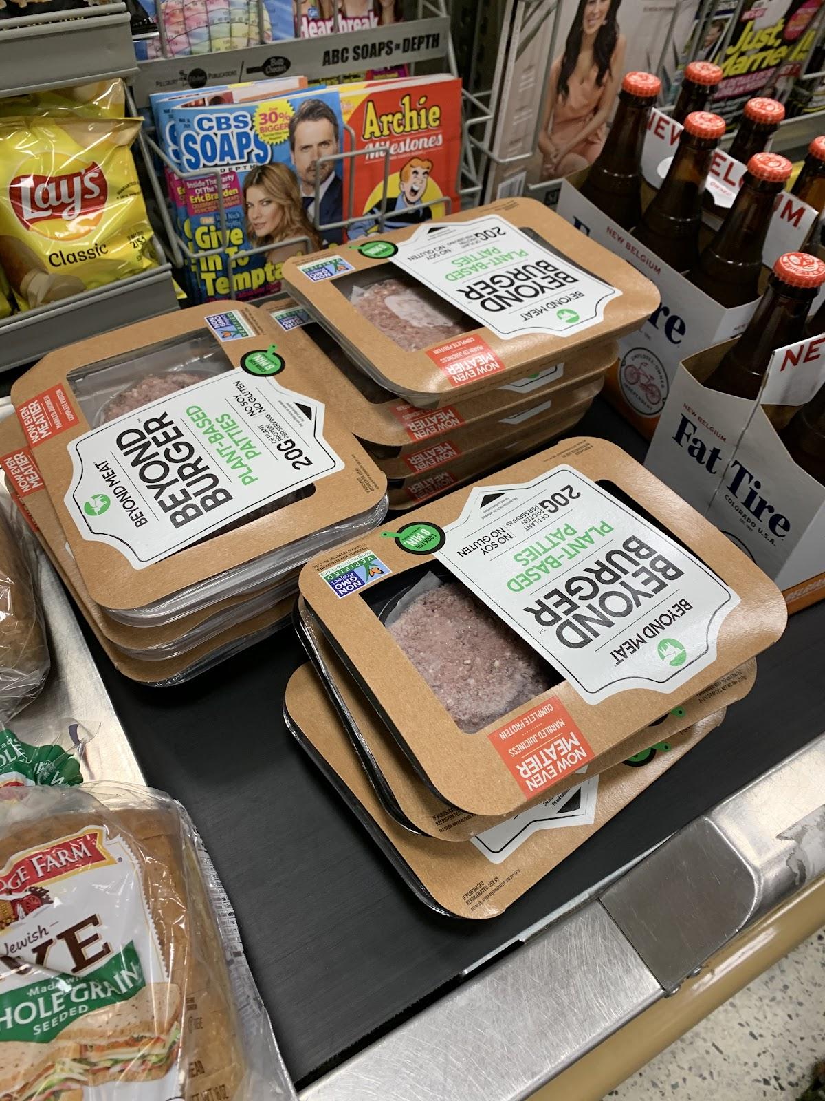Stocking up on the Beyond Meat's vegan burger during a Publix BOGO sale.