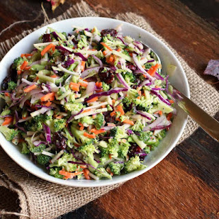 Healthy Broccoli Slaw with Apples, Dried Cranberries & Cabbage.