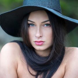 Black Scarf by Alex Tsarfin - People Portraits of Women ( look, model, elegance, art, beauty, portrait, close-up, eyes, hat, female, woman, lips, hair, light, closeup )