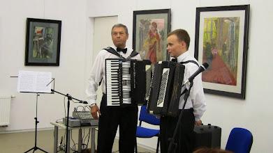 Photo: Koncertavo neprilygstamas akordeono virtuozas Žygimantas Laurinavičius ir jo talentingas mokinys Donatas Butkus.